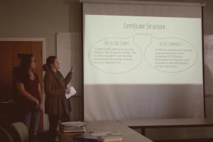 Chloe and Hana present a slideshow describing their project.