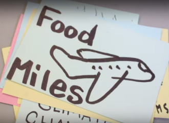 "A stack of index cards with different aspects of the food system drawn and written on them. The top card shows a hand-drawn airplane, and says ""food miles"""