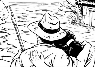 first page of the #foodcrisis graphic novel, showing two subsistence farmers surveying their drought-stricken land