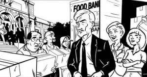 A page from Chapter 2 of the graphic novel, showing an American Senator outside a food bank in Detrot